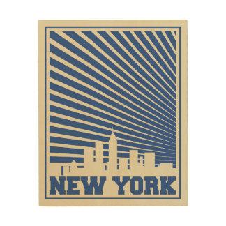 ニューヨークシティの青 ウッドウォールアート