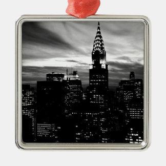 ニューヨークシティの黒く及び白いミッドタウン メタルオーナメント
