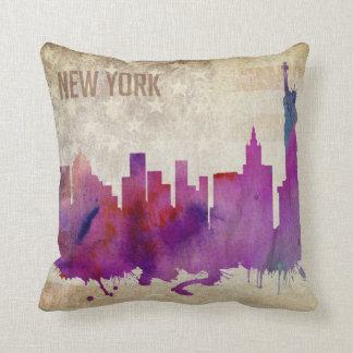 ニューヨークシティのNY |の水彩画都市スカイライン クッション