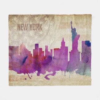 ニューヨークシティのNY |の水彩画都市スカイライン フリースブランケット