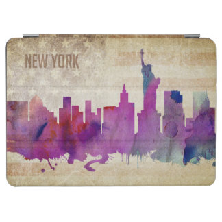 ニューヨークシティのNY |の水彩画都市スカイライン iPad AIR カバー