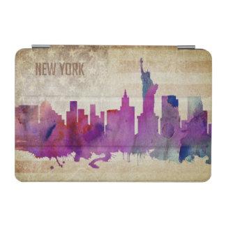 ニューヨークシティのNY |の水彩画都市スカイライン iPad MINIカバー