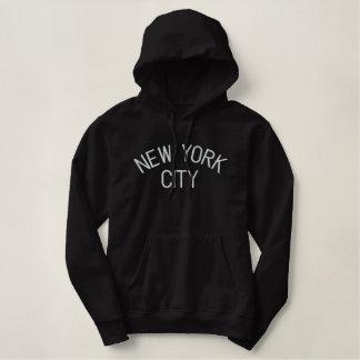 ニューヨークシティは女性フード付きスウェットシャツ-黒--を刺繍しました 刺繍入りパーカ