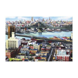 ニューヨークシティブルックリンおよびウィリアムズバーグ橋 キャンバスプリント
