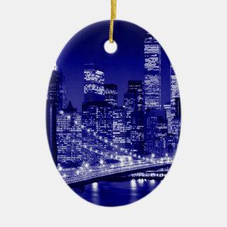 ニューヨークシティ青い夜 セラミックオーナメント