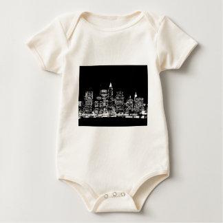 ニューヨークシティ黒く及び白い夜 ベビーボディスーツ