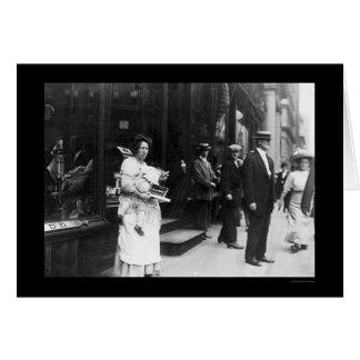 ニューヨークシティ1909年のブロードウェイのこじきの女性 カード