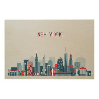 ニューヨークシティ の赤、白および青 ウッドウォールアート