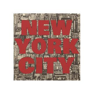 ニューヨークシティ の超高層ビルのタイポグラフィ ウッドウォールアート