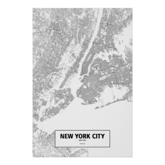 ニューヨークシティ、ニューヨーク(白の黒) ポスター