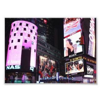 ニューヨークシティ(ピンク)のタイムズ・スクエア フォトプリント