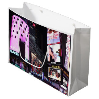 ニューヨークシティ(ピンク)のタイムズ・スクエア ラージペーパーバッグ