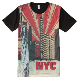 ニューヨークシティNYCのグランジなスタイルのTシャツ オールオーバープリントT シャツ