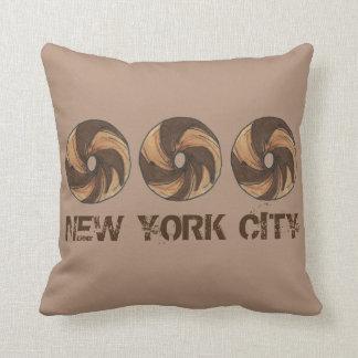 ニューヨークシティNYC大理石のライのベーゲルのベーゲルの枕 クッション