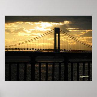 ニューヨークシティVerrazano橋写真撮影ポスター ポスター