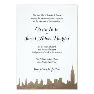 ニューヨークニューヨークの模造のな金ゴールドの招待状 カード