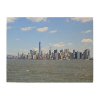 ニューヨーク上の眺めの木のキャンバス ウッドウォールアート