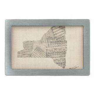 ニューヨーク州の古い楽譜の地図 長方形ベルトバックル