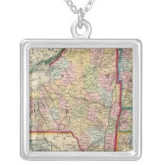 ニューヨーク州の郡地図 シルバープレートネックレス