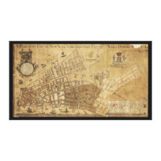 ニューヨーク市の地図(1755年)の計画 キャンバスプリント