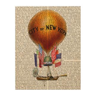 ニューヨーク市の熱気の気球 ウッドウォールアート