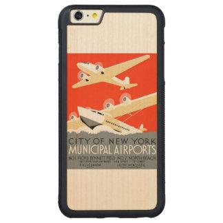 ニューヨーク市市空港ヴィンテージポスター CarvedメープルiPhone 6 PLUSバンパーケース