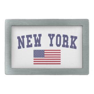 ニューヨーク米国の旗 長方形ベルトバックル