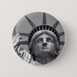 ニューヨーク黒く及び白い自由の女神 5.7CM 丸型バッジ
