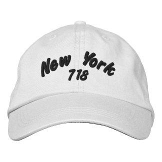 ニューヨーク718の市外局番 刺繍入りキャップ