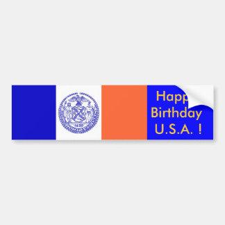 ニューヨーク、ハッピーバースデー米国のステッカーの旗! バンパーステッカー