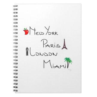 ニューヨーク、パリ、ロンドン、マイアミ ノートブック