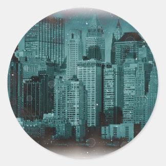 ニューヨーク-損なわれた写真の効果 ラウンドシール
