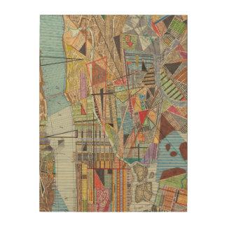ニューヨークI 6のモダンな地図 ウッドウォールアート
