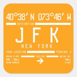ニューヨークJFKの国際空港コード 正方形シール