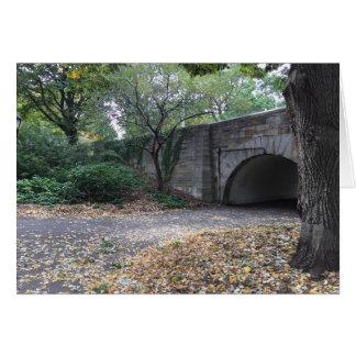 ニューヨークNYCの川岸公園のアーチ道の秋の秋 カード