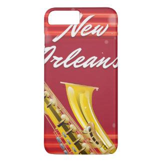 ニュー・オーリンズのサクソフォーン旅行ポスター iPhone 8 PLUS/7 PLUSケース