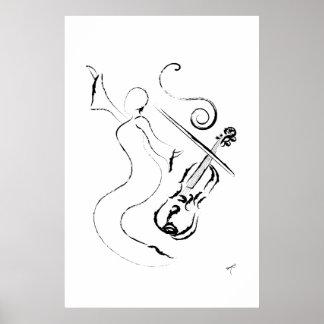 ニュー・オーリンズの女性-キャンバスプリントのバイオリン ポスター