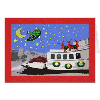 ニュー・オーリンズの川船のCrawfishのわに挨拶 カード