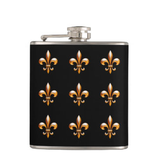 ニュー・オーリンズの(紋章の)フラ・ダ・リの金ゴールドおよび黒 フラスク
