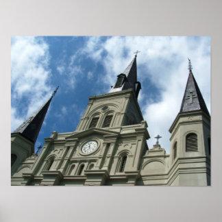 ニュー・オーリンズルイジアナのセントルイスのカテドラル教会 ポスター