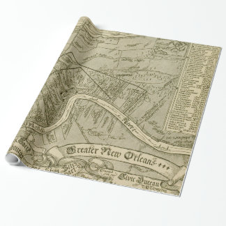 ニュー・オーリンズルイジアナ(1919年)のヴィンテージの地図 ラッピングペーパー