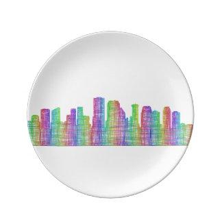 ニュー・オーリンズ都市スカイライン 磁器プレート