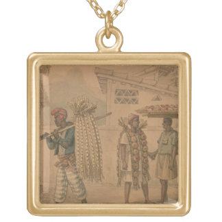 ニンニクおよびタマネギの販売人1826年(w/c紙で) ゴールドプレートネックレス