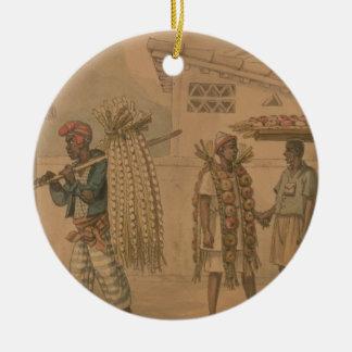 ニンニクおよびタマネギの販売人1826年(w/c紙で) セラミックオーナメント