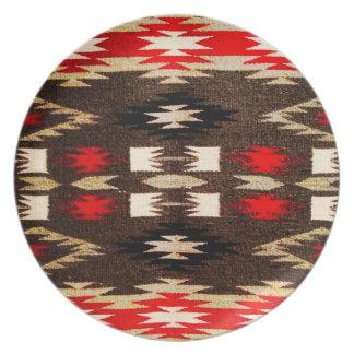 ネイティブアメリカンのナバホー人の種族の設計プリント お皿