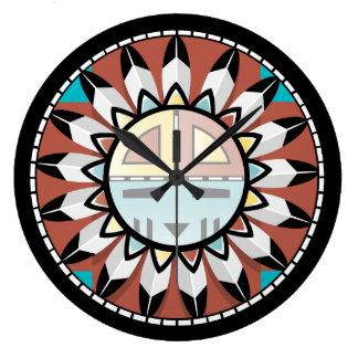 ネイティブアメリカンのホピー族の抽象芸術の時計のデザイン ラージ壁時計