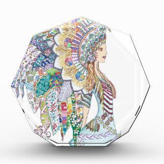 ネイティブアメリカンの女の子の頭飾り 表彰盾