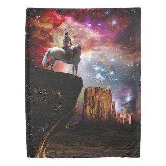 ネイティブアメリカンの宇宙(側面1)の対の羽毛布団カバー 掛け布団カバー
