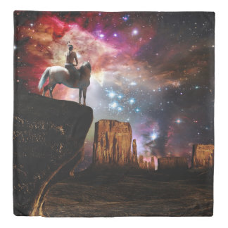 ネイティブアメリカンの宇宙(2つの側面)の女王の羽毛布団カバー 掛け布団カバー