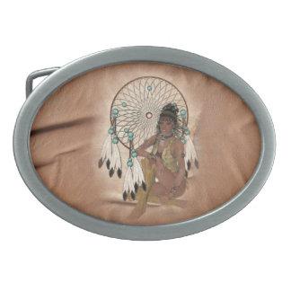 ネイティブアメリカンの曼荼羅のデザインのベルトの留め金 卵形バックル